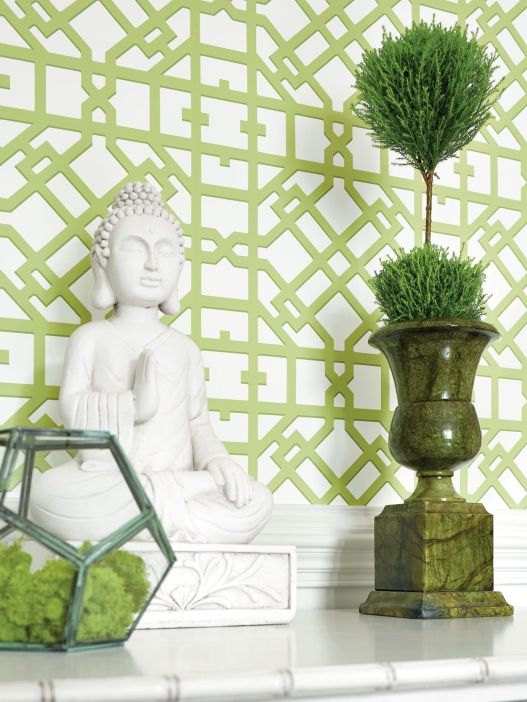Lattice pattern- wonderful design for Entry, powder room, breakfast nook, almost any room where you want a fresh look. Turner Wallcovering from Thibaut