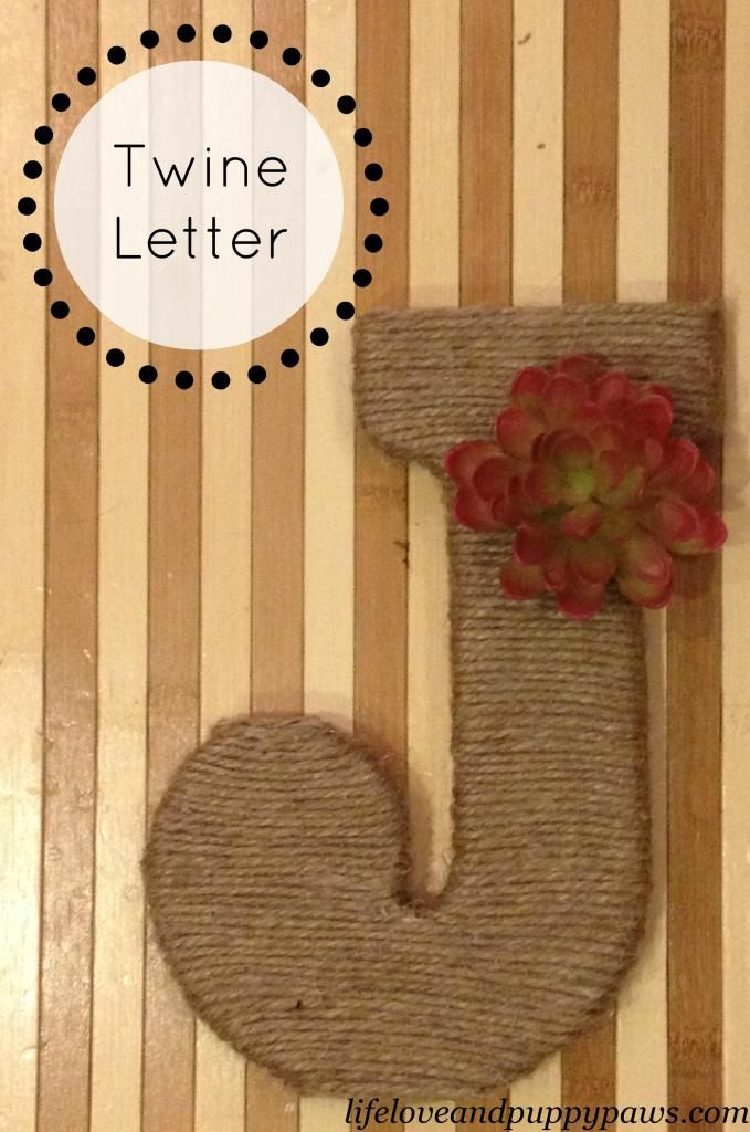 DIY Twine Letter - wrap twine around wooden letter from craft store, securing with hot glue, then embellish and hang!