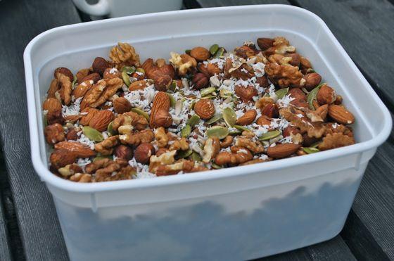 Breakfast muesli - coconut flakes, walnuts, hazelnuts, almonds, flaxseed, sunflower seeds, pumpkin seeds