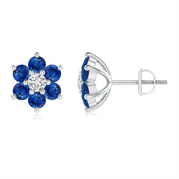 Angara Classic Pink Sapphire Six Petal Flower Earrings in Platinum YhOtjJq