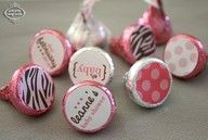 Hersheys Kisses = put 1 inch paper or notes on the bottom.: Favors, Hersheykiss, Stickers, Cute Ideas, 50Th Anniversaries, Hershey Kiss, Parties Ideas, Valentine, Baby Shower