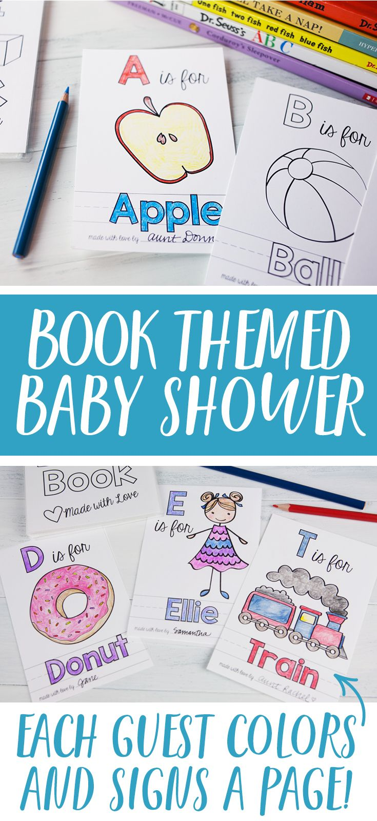 The perfect activity for a Book Themed Baby Shower! Each guests colors a page and signs the bottom--doubles as a guest book!  #baby #babyshowergames #babyshowerideas