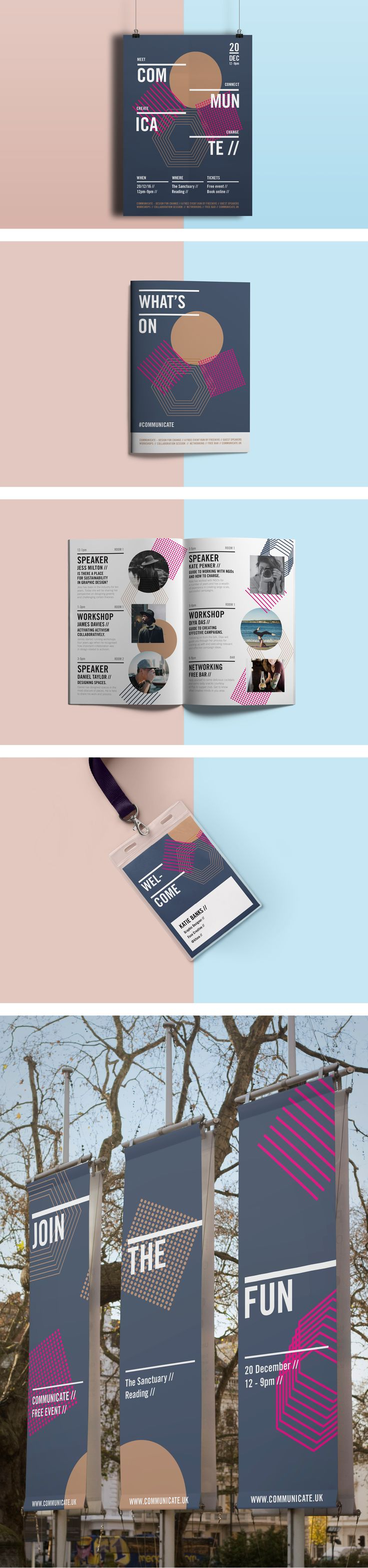 Communicate, Event Branding. Poster, programme, brochure, Lanyard, ID card, outdoor banners, typography.