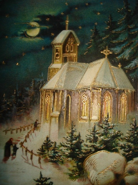 Antique Old Holiday Christmas Postcard Beautiful Church Goldtrimmed Night Scene | eBay
