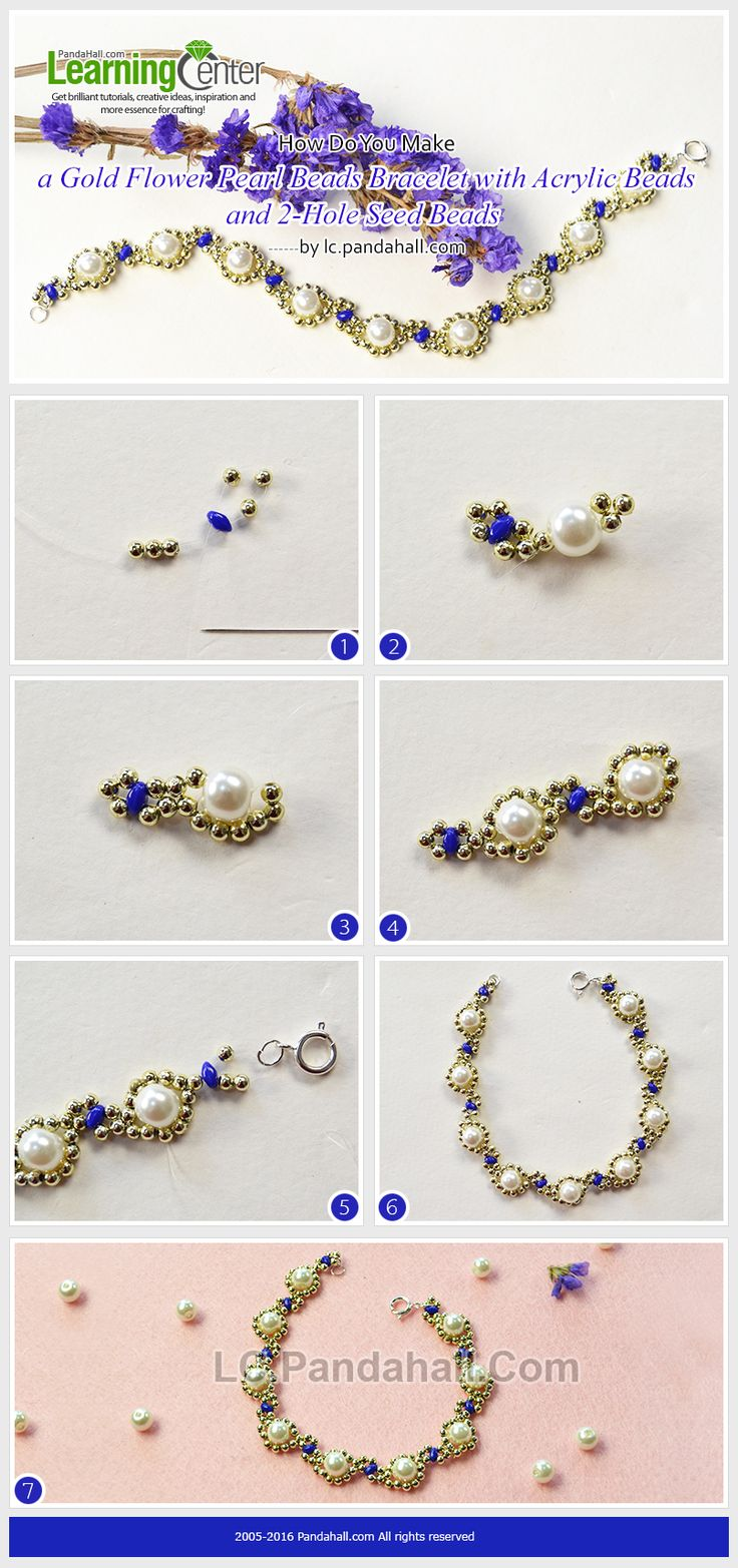 How Do You Make a Gold Flower Pearl Beads Bracelet with Acrylic Beads and 2-Hole Seed Beads from LC.Pandahall.com