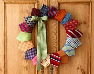 DIY Wreaths - flea market or garage sale ties… very inexpensive and so colorful.  I'm thinking Christmas Theme Ties or even Baseball Theme Ties.  Our school principal always wore School Theme Ties.  All would make great gift ideas.