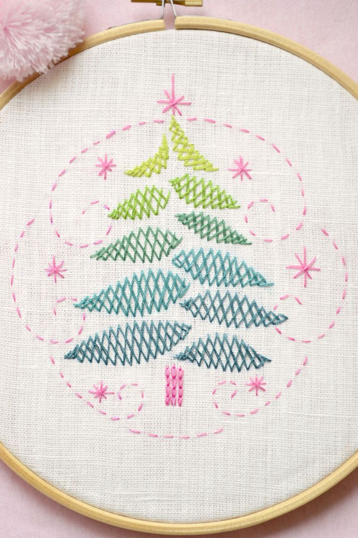 Brazilian embroidery bedspread designs - Christmas Tree Christmas Diy Gift Hand Embroidery Pattern By Naiveneedle