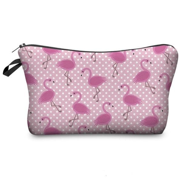 Pink Flamingos Make-up Cosmetic Case. An essential for organizing your makeup, pencils or toiletries.