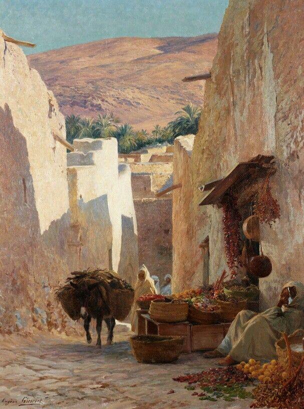 Algérie - Peintre Français  EugèneGirardet (1853-1907), huile sur toile, Titre : Rue animée à Bou Saada
