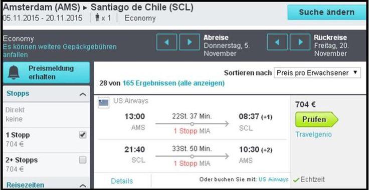 US AIRWAYS FLUG IM NOVEMBER 2015 VON AMSTERDAM NACH SANTIAGO DE CHILE für 704 Euro