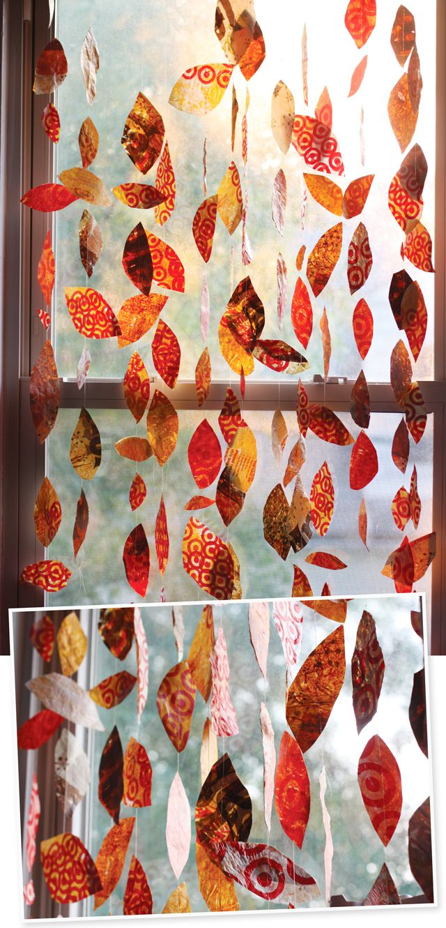 paper leaves in the windowFall Leaves, Plastic Bags, Autumn Leaves, Fall Paper Crafts, Grocery Bags, Leaf Crafts, Aunts Peaches, Paper Leaves, Leaf Garlands