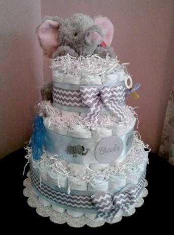 Cuddly elephant diaper cake #DiaperCake #BabyShower #Baby
