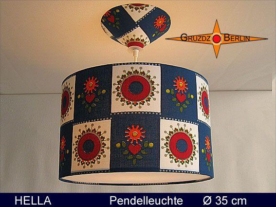Leuchte HELLA, beleuchtet, Ø 35 cm Pendellampe mit Diffusor und Baldachin Retro. Die fröhlichen Karos mit Herzen geben dem Raum Fröhlichkeit.