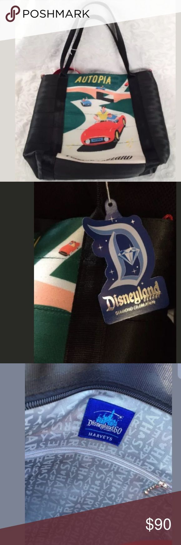 """Harvey's D60 Disneyland Tomorrowland Seatbelt Tote New with tags, Disneylands 60th anniversary """"D60"""" Harvey's Special Edition Tomorrowland Purse in this series. Disney Bags Totes"""