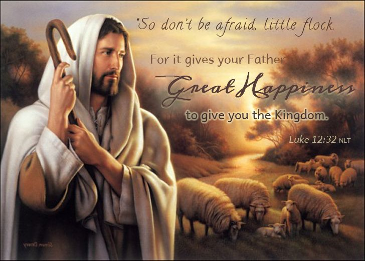 """So don't be afraid, little flock.  For it gives your Father great happiness to give you the Kingdom.""  Luke 12:32 NLT #Jesus #KingdomofGod #Bible #Luke #Gospel #GoodShepherd"