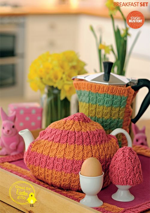 Free patterns from  Simply Knitting - cable breakfast set: tea cosy, coffee warmer, egg cosy & table mat. Thanks so for pdf xox