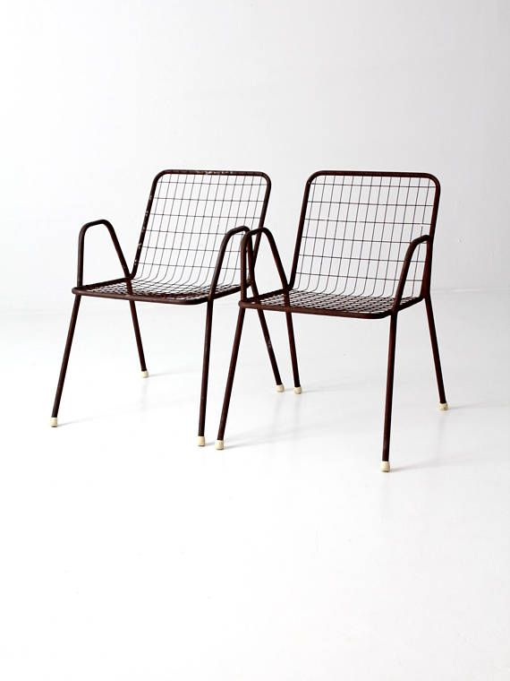 Mid Century Patio Chairs Metal Wire Set Of 2