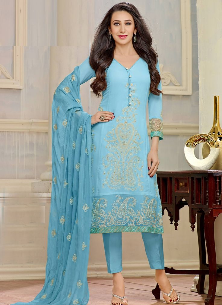 Karishma Sky Blue English Colour Embroid Straight Party Wear Straight Suit with Cigrrate Style Pant