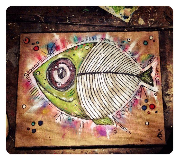 #aga #art #paint #fish #skeleton