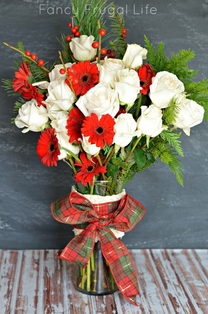 Christmas Flowers Roses Daisies Fresh Pine And Berries