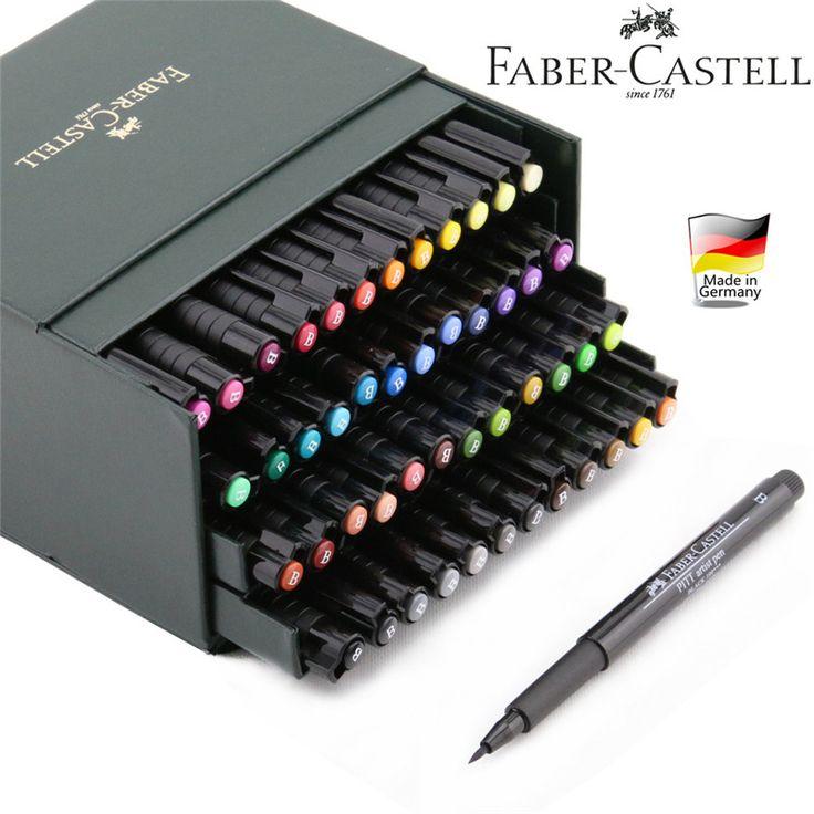Alemanha FABER CASTELL cabeça macio caneta marca 12/24/48/60 cores da pena da aguarela PITT art pen em Crayons de Home & Garden no AliExpress.com | Alibaba Group