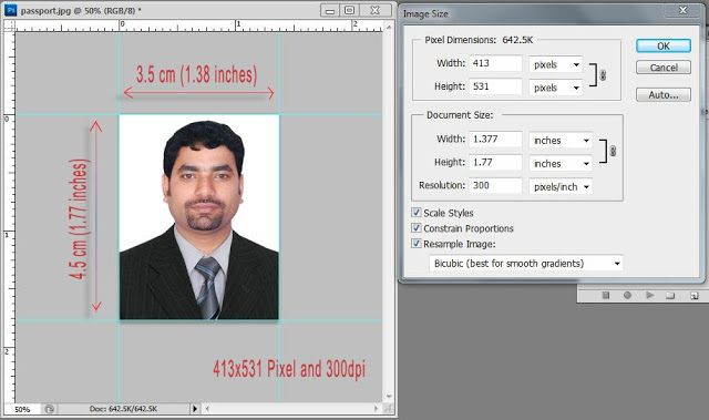 Actual Size Of A Passport Photo And How To Crop The Passport Size Photo In Photoshop 3 5x4 5cm Free Computer Tric Photo Dimensions Passport Photo Photoshop