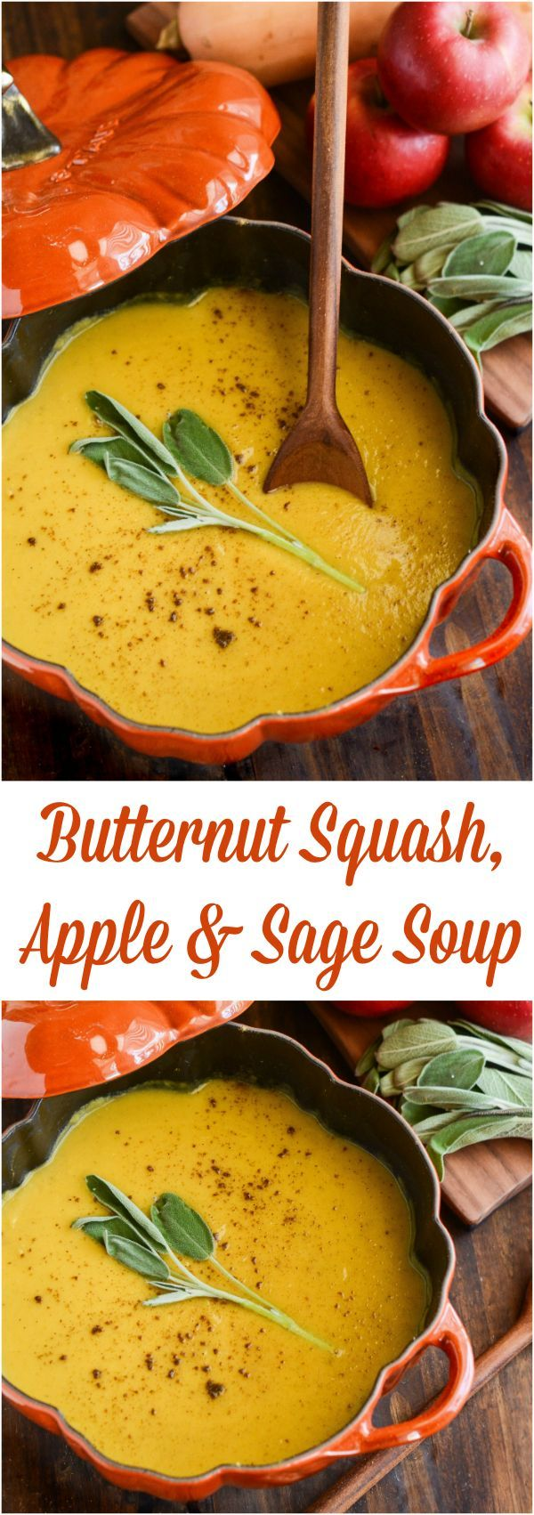 Butternut Squash, Apple & Sage Soup - a healthy soup that is creamy with no added cream!