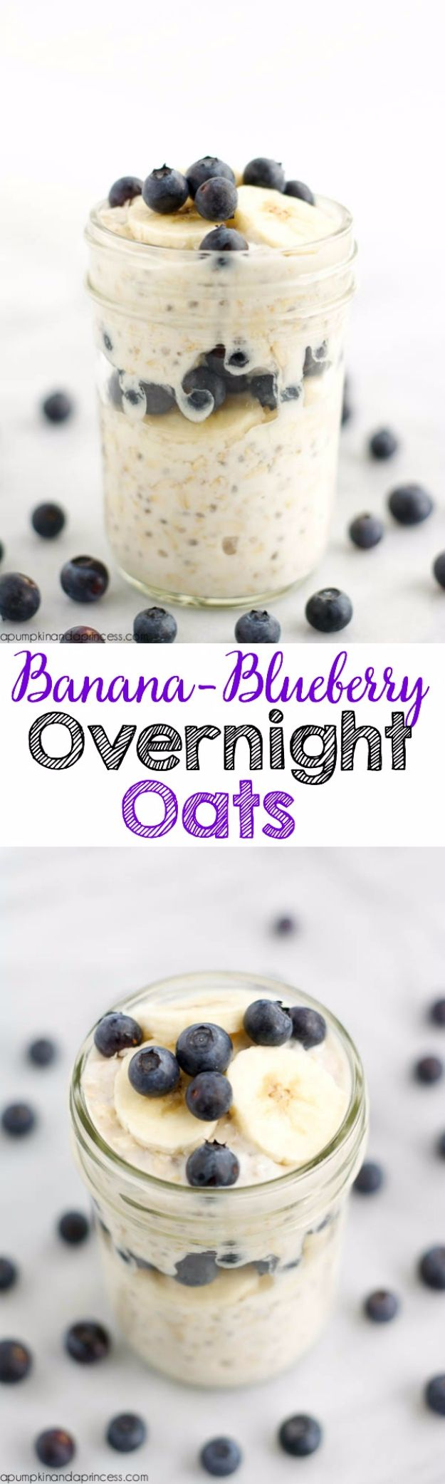 Best Recipes in A Jar - Banana Blueberry Overnight Oats In A Jar - DIY Mason Jar Gifts, Cookie Recipes and Desserts, Canning Ideas, Overnight Oatmeal, How To Make Mason Jar Salad, Healthy Recipes and Printable Labels http://diyjoy.com/best-recipes-in-a-jar
