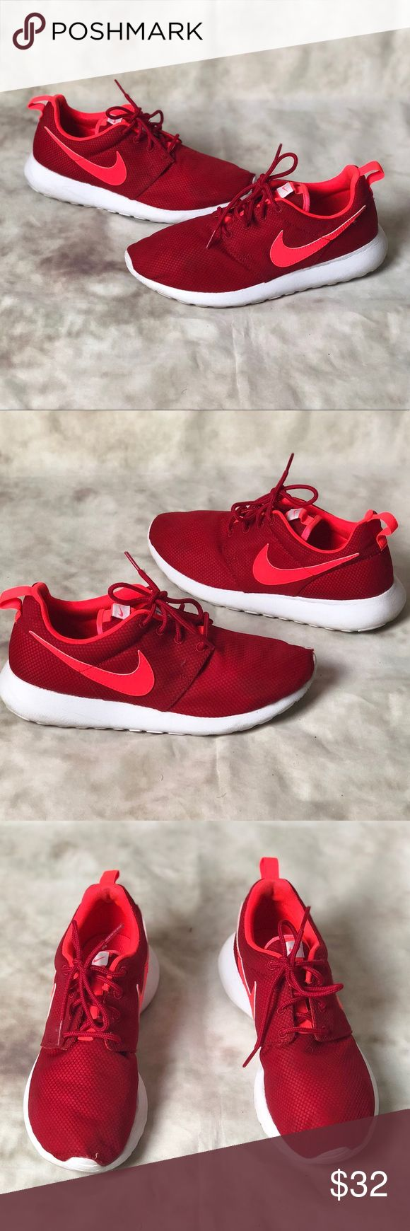 Nike Roshe Run Sneakers Red/Neon Orange Pre owned Nike Roshe Run Sneakers in a Women's 8 (Shoe is marked 6.5 Y will fit a women's 8) shoes are in overall good condition, slight defect on front left toe of sneaker, minor but I wanted to mention it. Please refer to photos. Nike Shoes Sneakers
