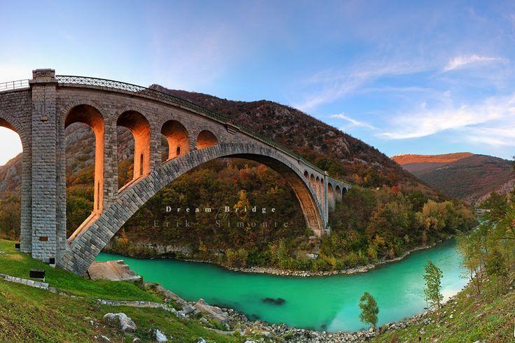 Solkan Bridge is a 220-metre long stone bridge over the river Soča near Nova Gorica in western Slovenia.: Bridges Slovenia, Bridges Design, Solkan Bridges, Erik Simon, Solkanbridg, Architecture Photography, Steel Arches Bridges, Dreams Bridges, Architecture Bridges