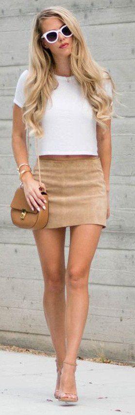 Brown Seude Bodycon Pencil Skirt
