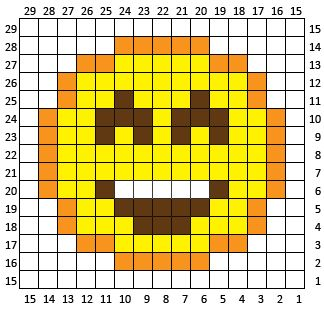 Happy Face Emoji is the ninth square (and final square) in my C2C Crochet Emoji…
