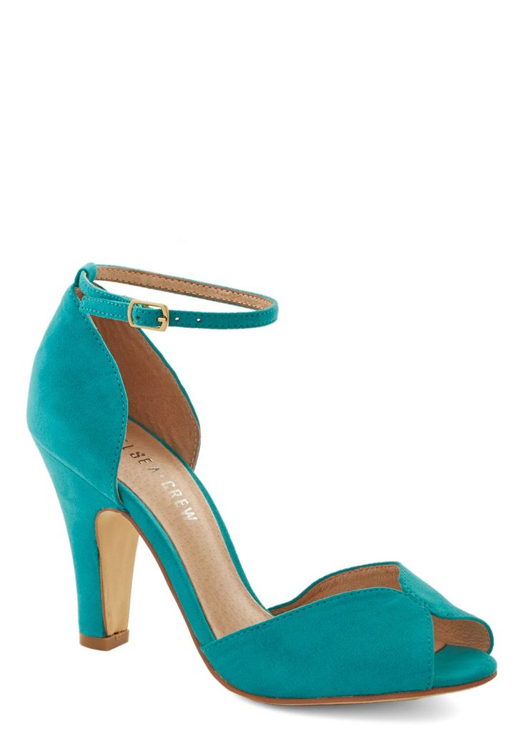 Fine Dining Heel in Turquoise will add a punch of color to your wedding dress or a little pizazz for your attendants. #ModCloth