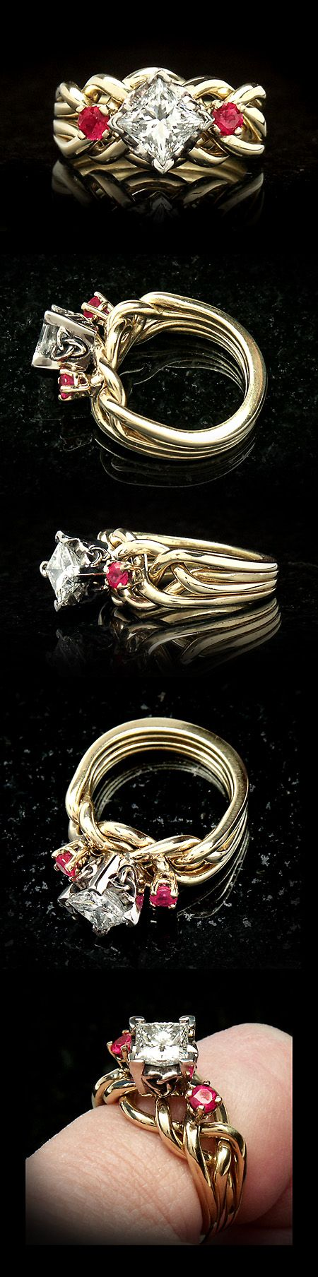 Juliet Royale Diamond Puzzle Ring With Rubies