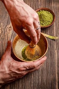 How to make Matcha the traditional way: 1. Using the bamboo tea scoop, measure out 1 ½ tea scoops (About 1 Gram or 1 Tea Spoon) of Matcha into the Matcha bowl.  2. Add water and using the bamboo whisk, whisk rapidly until tea is dissolved and liquid is topped with a light colored foam.  3. Zig zag patterns and concentrating the whisk on the center  of the bowl works best.  4. Drink immediately, before powder has time to settle.