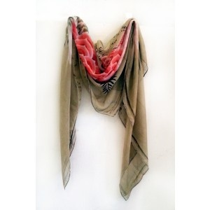 Modern Love Silk Georgette Scarf in Beaded Flower