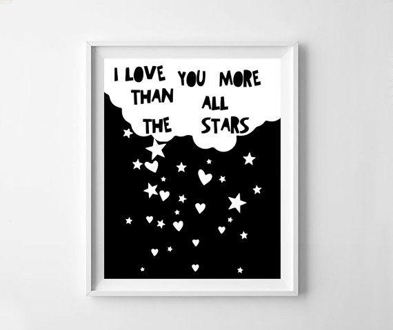 I love you more than all the stars Scandinavian art nursery