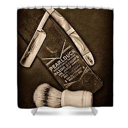 Barber - Tools For A Close Shave - Black And White Shower Curtain by Paul Ward