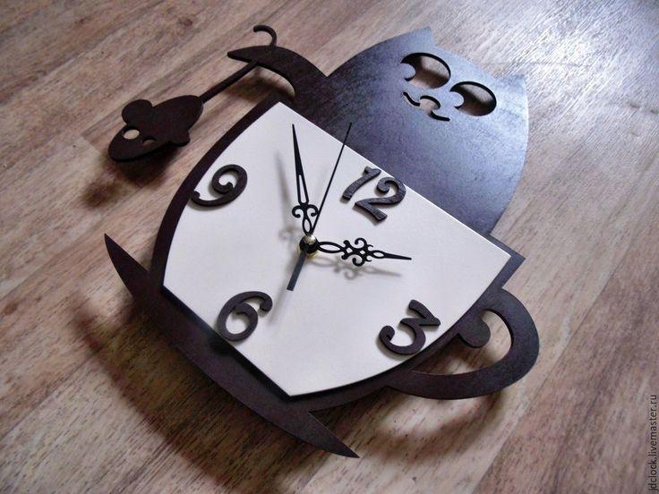 """Купить Настенные часы """" Кот в чашке"""" - коричневый, часы, часы настенные, часы для кухни"""