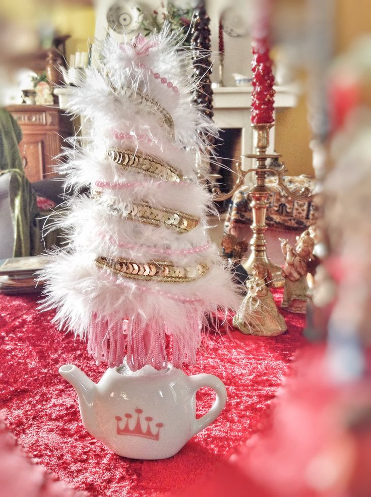 Handmade mini Christmas tree in a pot Feather down, pearls and sequins mini Christmas tree. by VintageShopCreations on Etsy https://www.etsy.com/listing/260862118/handmade-mini-christmas-tree-in-a-pot