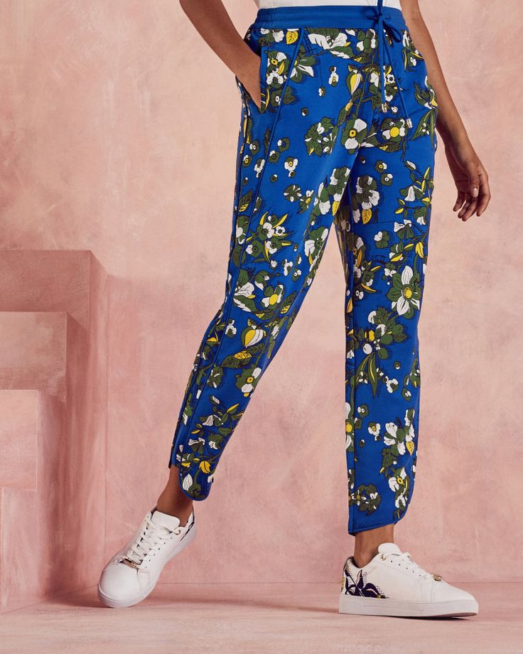 J2017  Floral print jogger trousers - Dark Blue | Trousers and Shorts | Other Europe Site