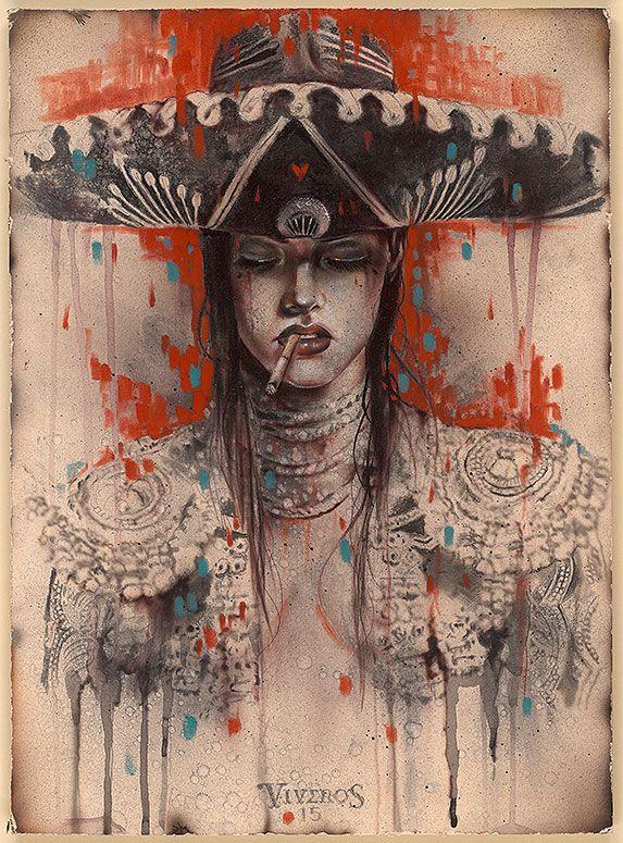 "Matador series by Brian M. Viveros - ""El Mariachi"" (2015) Charcoal, pastels, and water color on board"