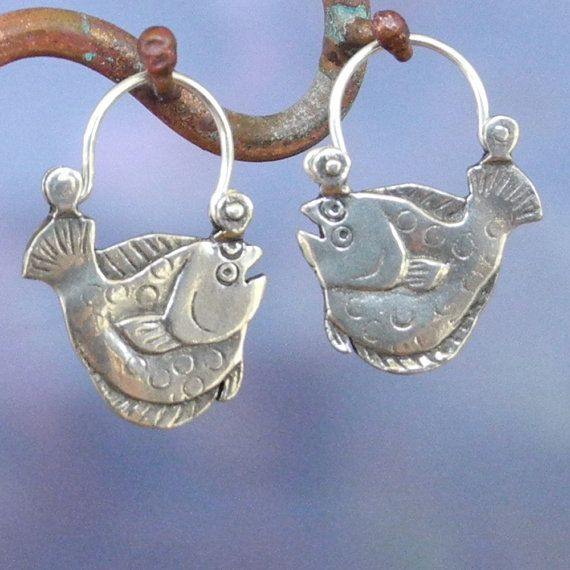 Flounder Earrings  sterling silver  Flat Fish by BobsWhiskers, $44.00