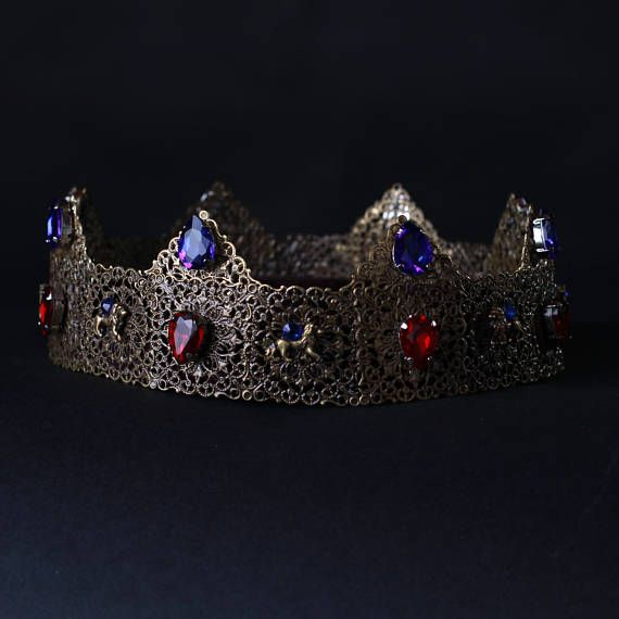 Mens Crown Medieval, Renaissance crown, Metal royal full round crown king crown man crown Medieval crown Tudor blue green ready to ship  Fantastic hair accessories for theather production, parties proms or other special occasions  - Metal, full round - Handmade - Size: 6cm (2.3) high. - Tiara (open front the back) flexible. - **100% FULL MONEY BACK GUARANTEE** Unlike others sellers, WE STAND behind our brand ILoveCrowns and provide 100% FULL MONEY BACK guarantee, if, For Whatever Reason, You…