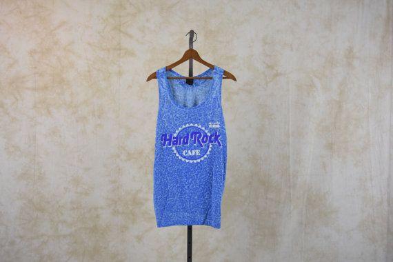 80 s Hard Rock Cafe débardeur Puerto Vallarta Mexique voyage Hipster TShirt T Shirt Grunge chemise Vintage bleu XL Extra Large emmanchure Long et bas