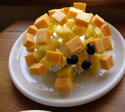 Cheese & pineapple sticks hedgehog - 70s party classic!