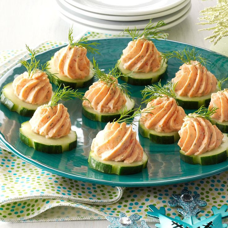 Salmon Mousse Canapes Recipe -It's so easy to top crunchy cucumber slices with a smooth and creamy salmon filling. Guests rave about the fun presentation, contrasting textures and refreshing flavor. —Barb Templin, Norwwood, Minnesota