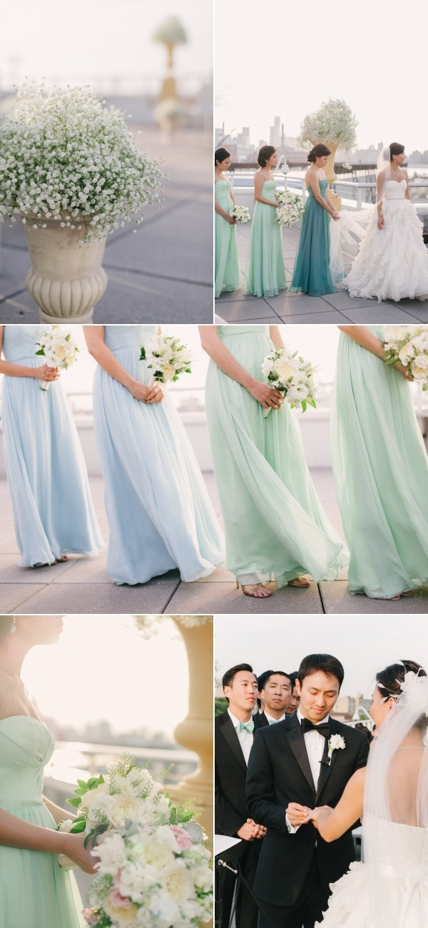 Ah i love this! Bridesmaids Dresses different shades. Perfect for my 2 sisters to be the same colour and the others to be in another shade.