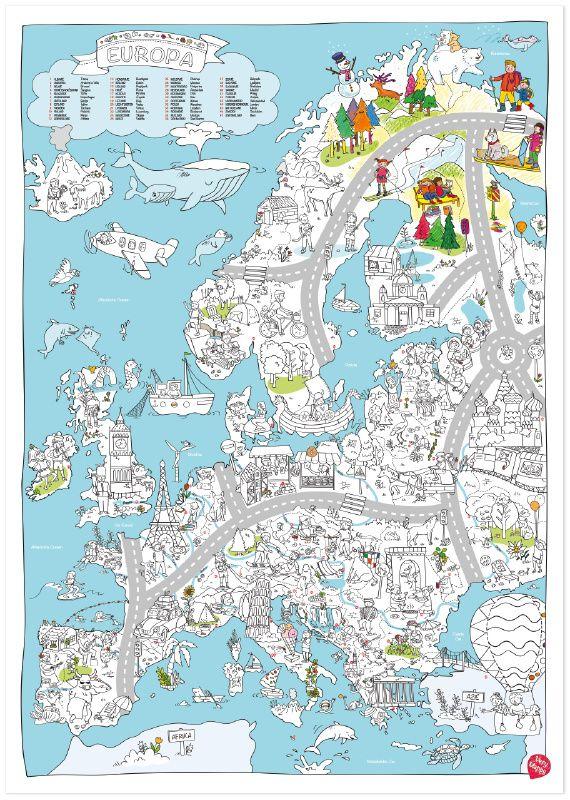 XXL kleurplaat van Europa | Knutselen | Villa Retteketet