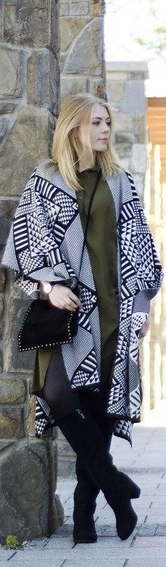 Aztec poncho & khaki shirt / Fashion By Rozalia Fashion